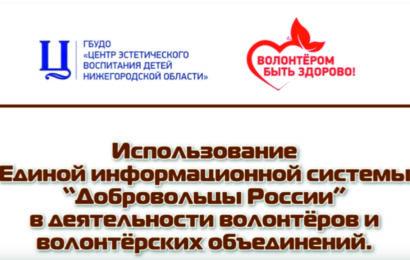 """Использование ЕИС """"Добровольцы России"""" в деятельности объединений"""